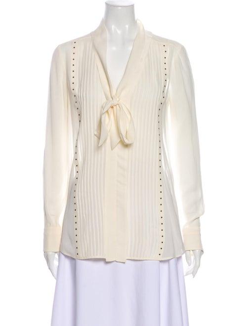 Belstaff Silk V-Neck Blouse White