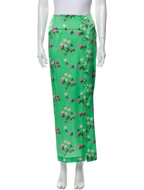Bernadette Silk Long Skirt Green