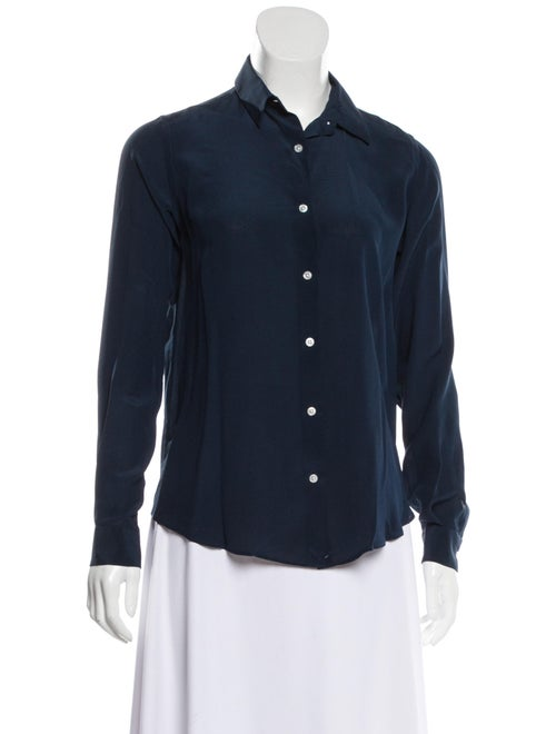 Boglioli Silk Long Sleeve Blouse Navy - image 1