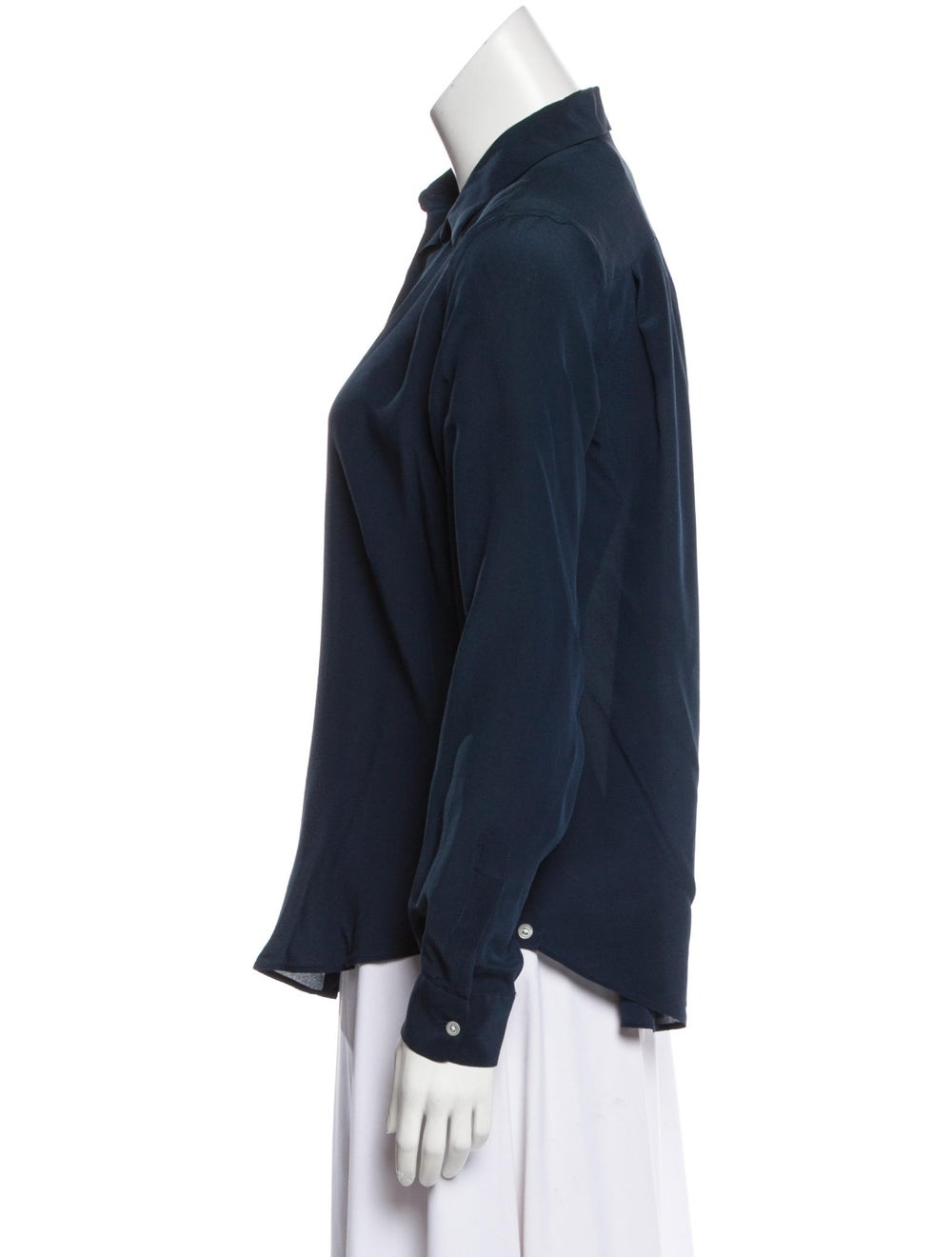 Boglioli Silk Long Sleeve Blouse Navy - image 2