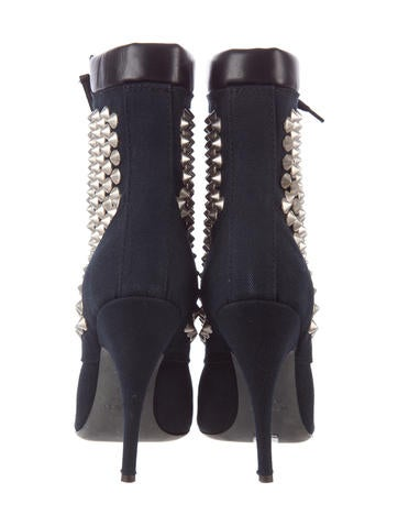 Canvas Studded Ankle Boots