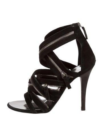 Zipper Embellished Multistrap Sandals