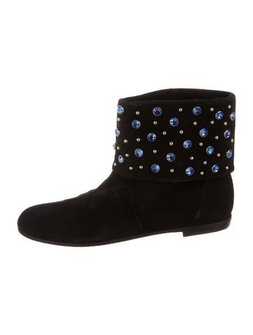 Giuseppe Zanotti x Balmain Embellished Suede Ankle Boots