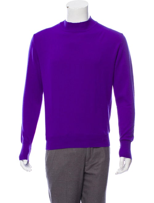 Bijan Cashmere Embroidered Sweater purple