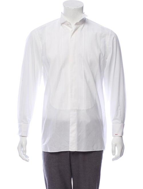 Bijan Pleated French Cuff Shirt white