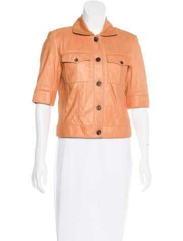 Bill Blass Cropped Leather Jacket