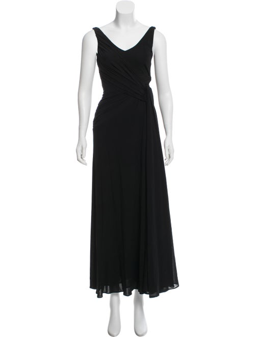 Bill Blass Pleated Evening Dress Black