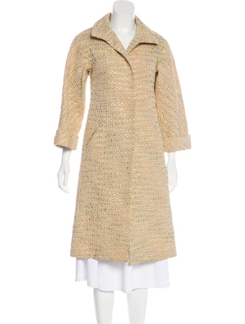 Bill Blass Embroidered Long Coat Beige