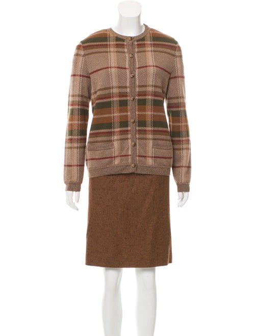 Bill Blass Plaid Cardigan Set Brown