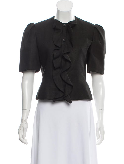 Bill Blass Ruffled Top Black