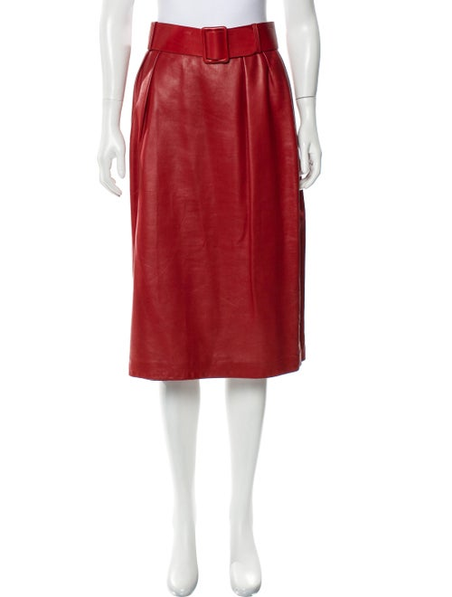 Bill Blass A-line Midi Skirt Red