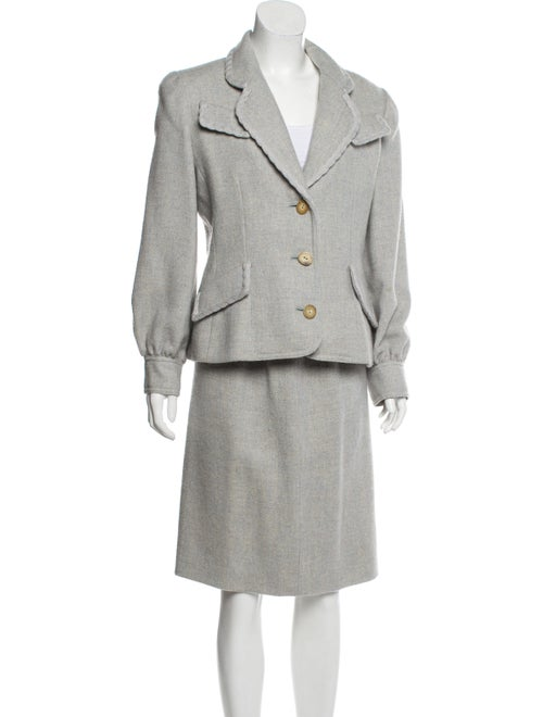 Bill Blass Tweed Knee-Length Skirt Suit blue