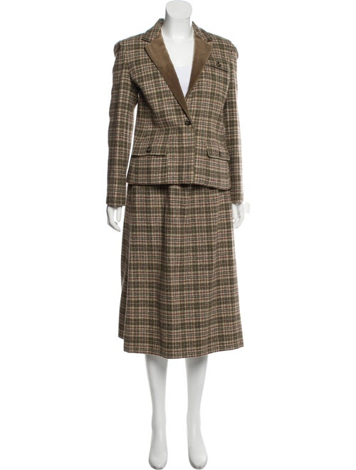 Bill Blass Houndstooth Midi Skirt Suit Olive
