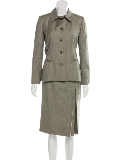 Bill Blass Button-Up Skirt Suit Olive