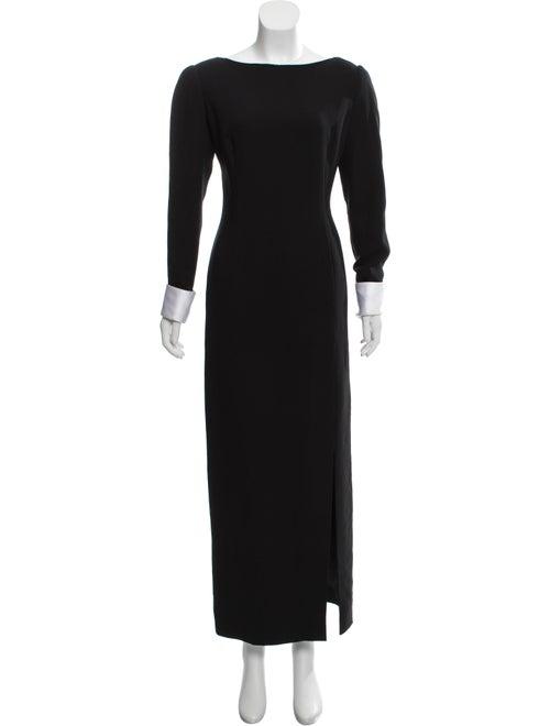 Bill Blass Long Sleeve Evening Dress Black