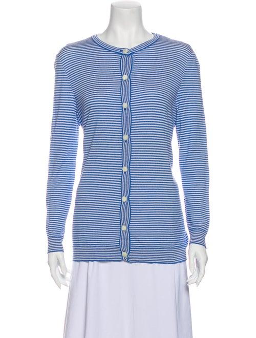 Bill Blass Silk Striped Sweater Blue
