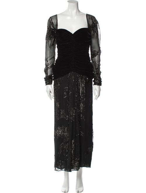 Bill Blass Square Neckline Long Dress Black