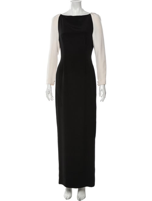 Bill Blass Bateau Neckline Long Dress Black