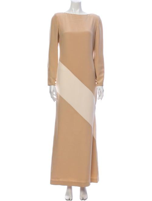 Bill Blass Bateau Neckline Long Dress