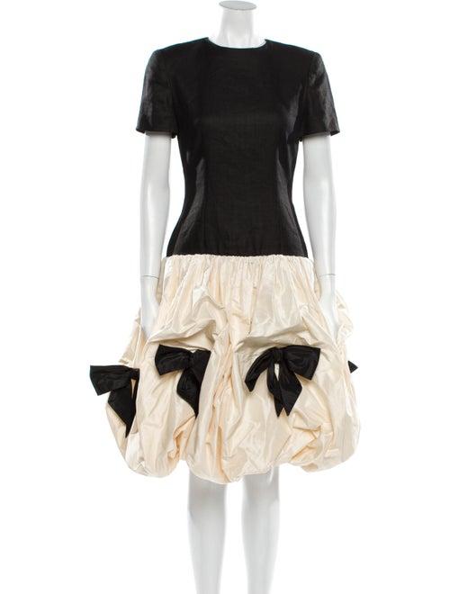 Bill Blass Printed Midi Length Dress Black