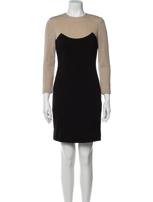 Bill Blass Colorblock Pattern Mini Dress Black