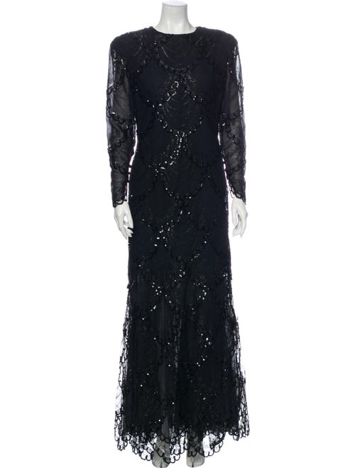 Bill Blass Crew Neck Long Dress Black