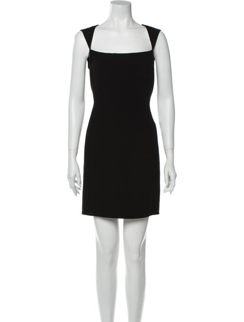 Bill Blass Square Neckline Mini Dress Black