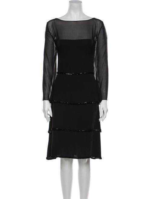 Bill Blass Bateau Neckline Knee-Length Dress Black