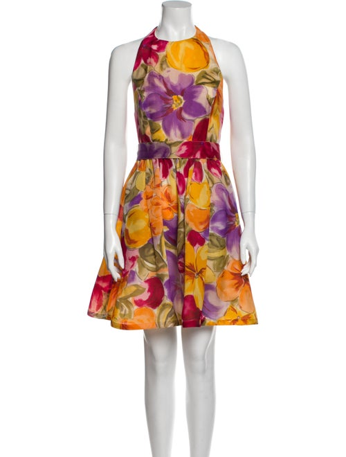 Bill Blass Silk Knee-Length Dress Yellow