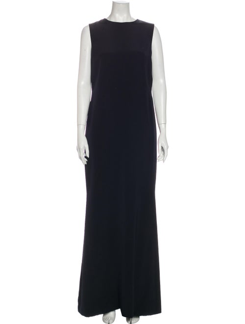 Bill Blass Crew Neck Long Dress Blue