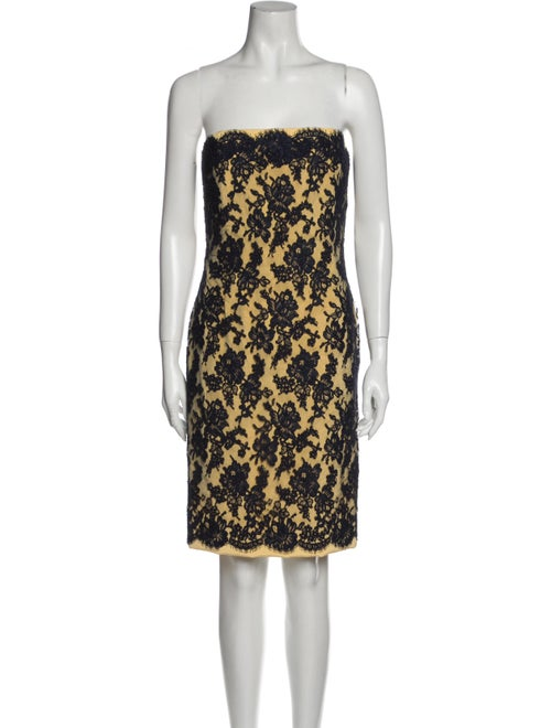Bill Blass Lace Pattern Mini Dress Yellow
