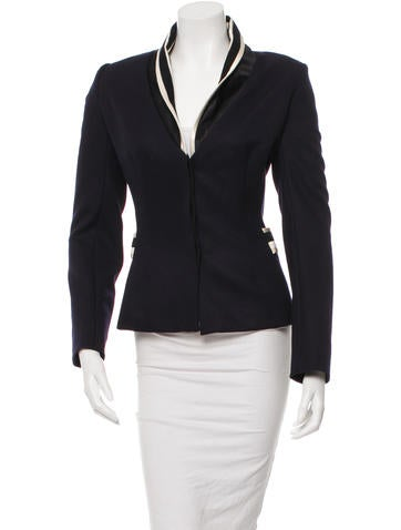 Wool Satin-Trimmed Blazer w/ Tags