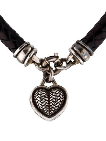Braided Leather Heart Necklace