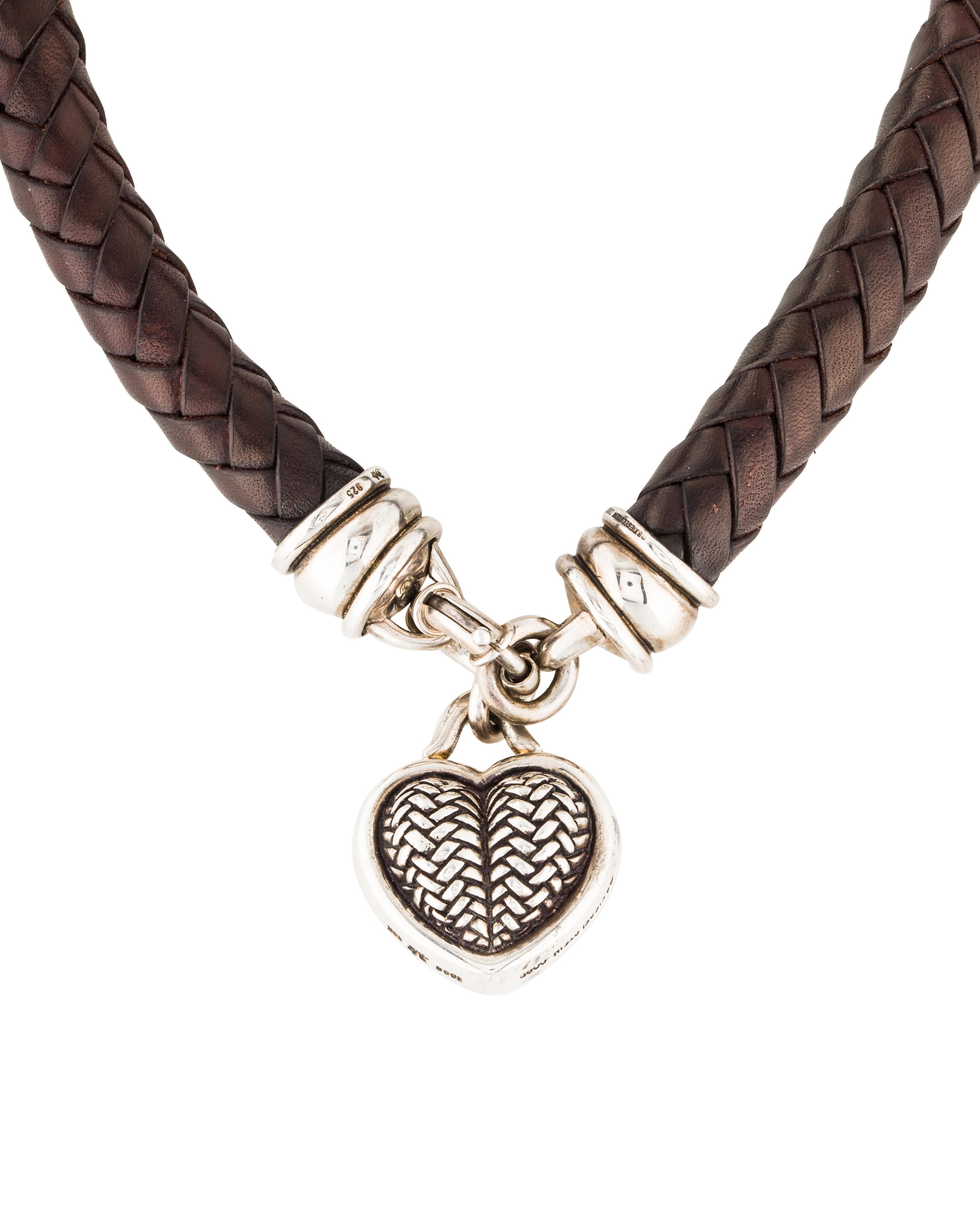 Barry kieselstein cord basketweave heart pendant necklace for Barry kieselstein cord jewelry