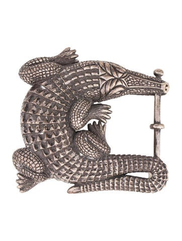 Kieselstein-Cord Sterling Silver Large Alligator Belt Buckle None