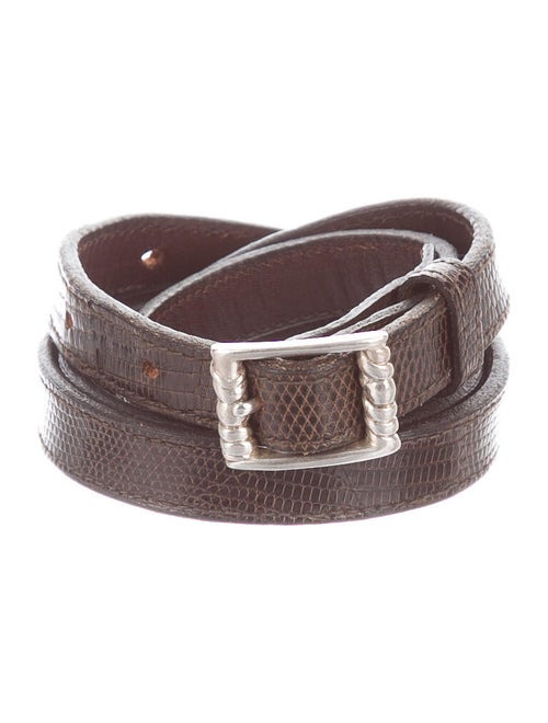 Kieselstein-Cord Leather Buckle Belt brown