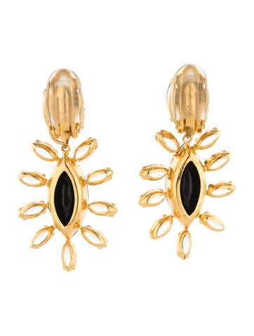 Onyx and Crystal Clip-On Earrings