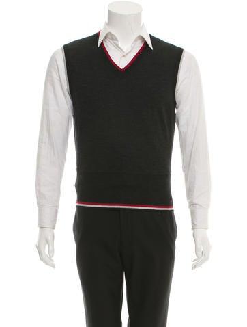 Black Fleece Wool Knit Vest None
