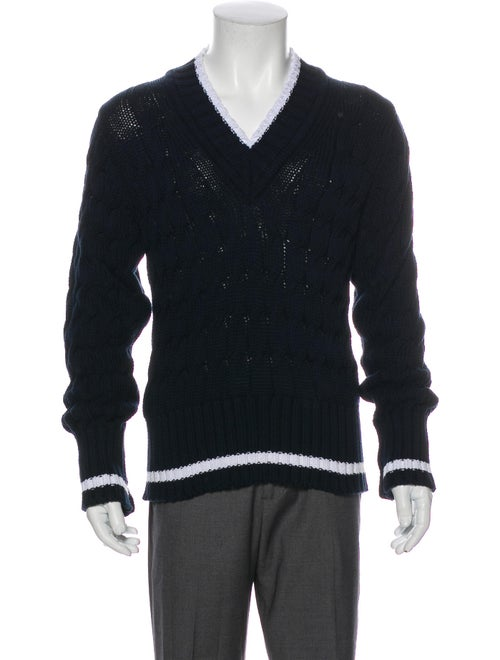 Black Fleece Cable Knit Striped Pullover Black