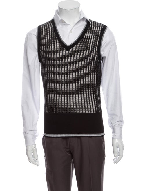 Black Fleece Virgin Wool Patterned Sweater Vest Bl