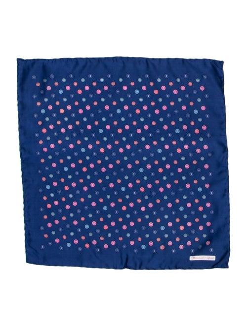 Turnbull & Asser Button Print Silk Pocket Square b