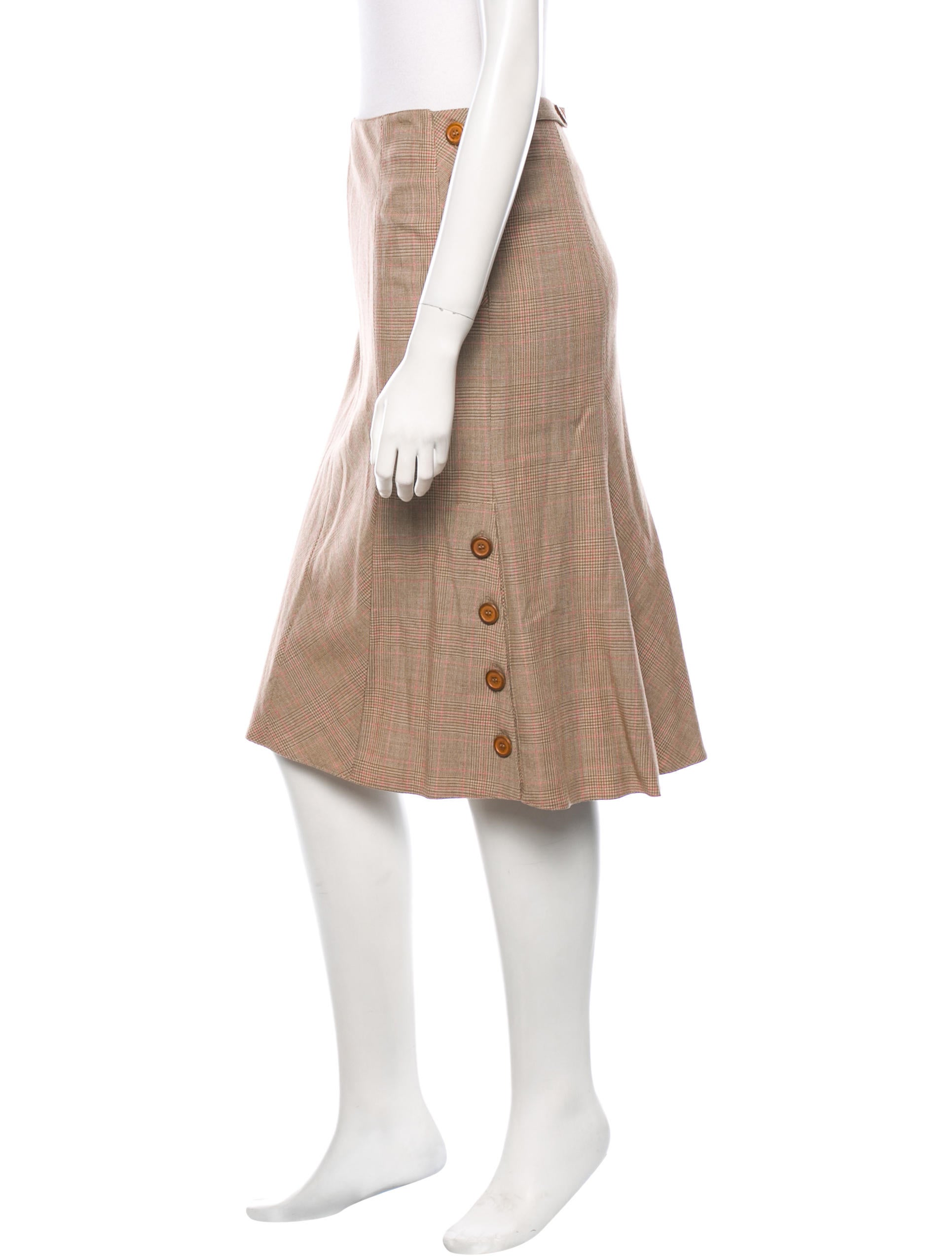blumarine plaid knee length skirt clothing blu23551