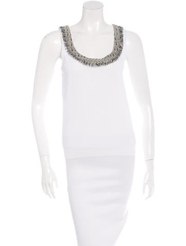 Blumarine Sequin-Trimmed Sleeveless Top None