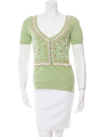 Blumarine Embellished Short Sleeve Top None