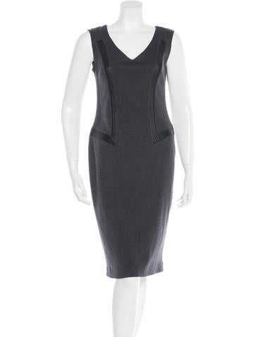 Blumarine Wool Leather-Trimmed Dress None
