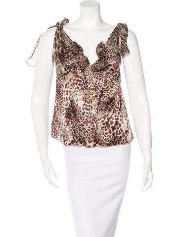 Blumarine Leopard Print Silk Top