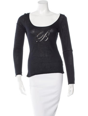Blumarine Embroidered Long Sleeve Top None