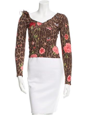 Blumarine Leopard Printed Long Sleeve Top None
