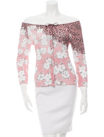 Blumarine Printed Off-The-Shoulder Top None
