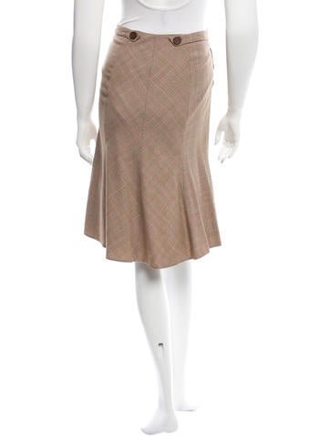 blumarine plaid knee length skirt clothing blu25455